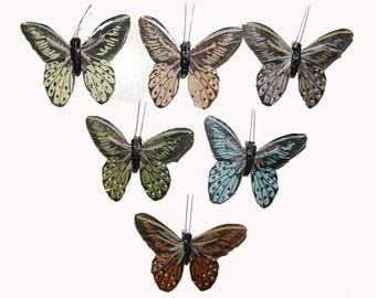 12 pc 3 1/2 Inch Feather Butterflies in Earthtones with Metal Clip (B6772)