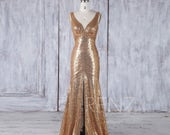 Gold Sequin Bridesmaid Dress,Sexy Deep V Neck Wedding Dress Mermaid, Bodycon Long Prom Dress,Luxury V Back Evening Gown Floor Length (HQ447)