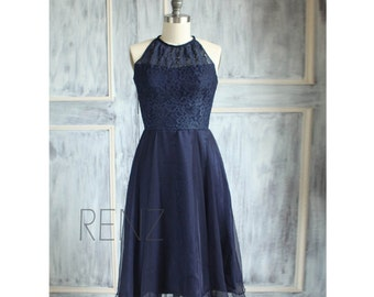 Navy Blue Lace Bridesmaid Dress, High Halter Evening Dress, Chiffon Party Dress, Womens Formal Dress, Prom Dress Knee Length (B080)