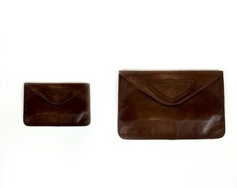 Vintage 1970s Dark Oxblood Leather Geometric Design Snap Closure Envelope Clutch