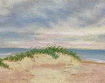 "Original Impressionist Pastel Painting By Michigan Artist 4x6 ""Beachgrass"""