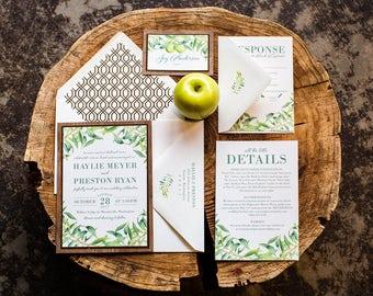 Olive Branch Greenery Wedding Invitation Sample | Flat or Pocket Fold Style