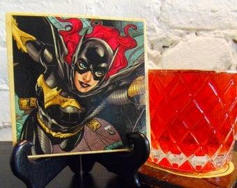 Handmade Comic Travertine Coaster - Batgirl