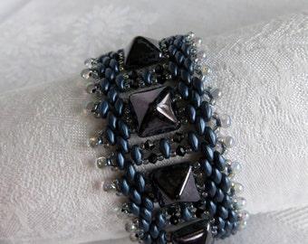 Navy Pyramid Bracelet, Dark Blue Bracelet, Statement Bracelet, Luxor, Sterling Silver Clasp