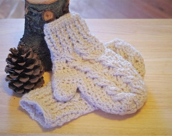 Adult Crocheted Cable Mittens - Color Choices Available -  Adult sizes - Cable Knit - Womens Mittens