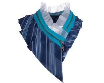 Collar necklace, unique accessory, zipper collar, silk collar, only one piece #180