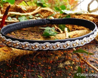 Black Leather Choker with 14K Gold and Pewter Braid BIFROST Sami Viking Necklace - Custom Handcrafted Scandinavian Jewelry