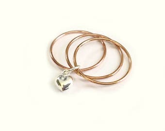 Rose Gold Filled Triple Stack Rings with a Sterling Silver Puffy Heart Charm -
