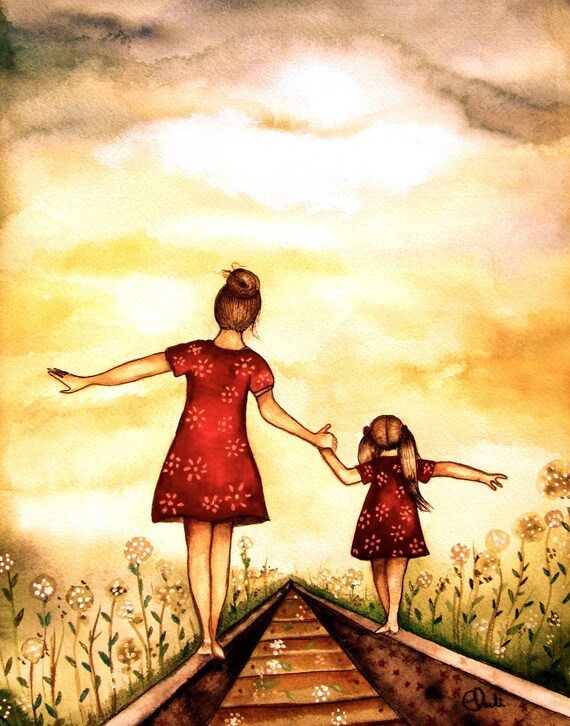 """Mother and daughter """"our path"""" art print"""