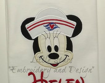 Minnie Sailor Shirt - Personalized - Embroidered - Colored Shirts are Extra