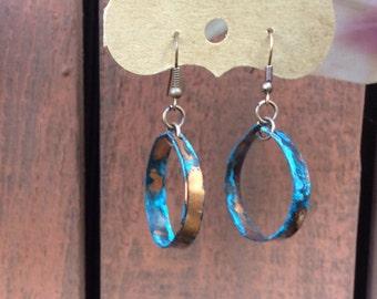Copper Patina Hoop Earrings
