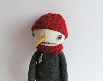 Winter Boy Doll Snowman Primitive Scarf Hat