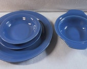RESERVED for BeadsReadsAndMore Vernon Kilns Blue Early California 4 Piece Set
