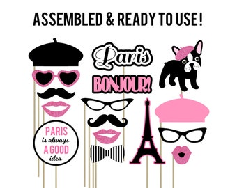 Paris Photo Booth Props . Parisian Photo Booth Props . Pink . Eiffel Tower .  Bonjour . French Beret . French Bulldog . Set of 16