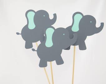 Elephant Centerpiece, Elephant Theme, Elephant Birthday, Elephant Baby Shower, Gray and Mint, Set of 4 Elephant