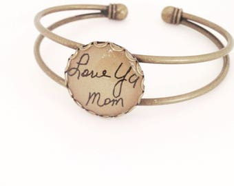 Hendersweet Handwriting Cuff Bracelet. Memory Jewelry.  From a Loved One. Handwriting Jewelry