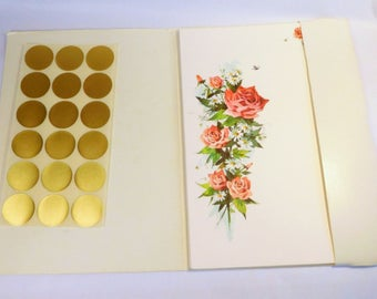 Vintage CURRENT ROSE & DAISY Mailing Notes Notecards / Fold and Send / Stationery Set with Seals