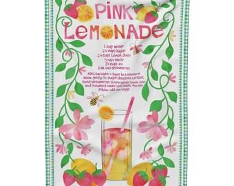 Pink Lemonade Tea Towel, Gift Idea for Her, Gift for Mom, Summer Tea Towel, Dish Towel, Recipe Tea Towel, Kitchen Linens, Homemade Lemonade