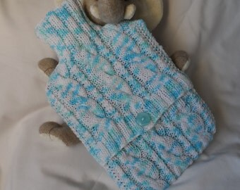Hand Knitted Blue, White & Aqua Random Shades Cabled Hot Water Bottle Cover/Cozy/Cosy