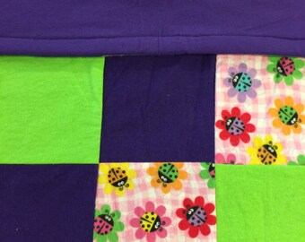 READY TO SHIP- Lady Bug Quilt, Purple, Gree, Flowers, Bugs, Lady, Baby, Lap Quilt, Toddler, Warm, Crib Size