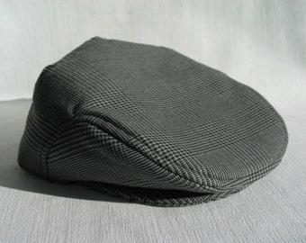 Glen Check Hat, Glen Urquhart Check Flat Cap,  Mens Glen Check Newsboy, Plaid Check Ivy Hat, Plaid HoundsTooth Custom Flat Cap, Man Hat Gift