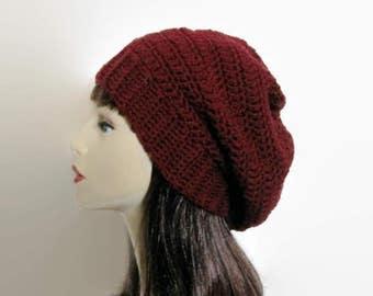 Burgundy Slouch Hat Wine Crochet Hat Dark Red Slouch Hat Wine Crochet Tam Burgundy Knit Cap Women's Red Tam Slouchy Red Beret Burgundy Tam