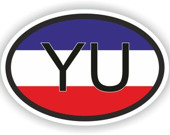 Yugoslavia YU Country Code Oval Sticker with Flag for Bumper Laptop Book Fridge Motorcycle Helmet ToolBox PC Hard Hat Tool Box Locker Truck