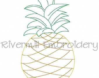 Raggy Applique Pineapple Machine Embroidery Design - 4 Sizes