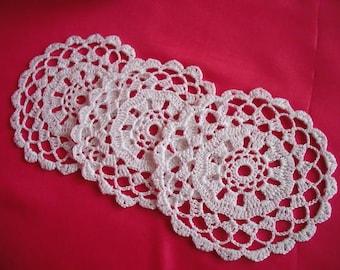 round crochet doily coaster set of 3. new. ready to ship