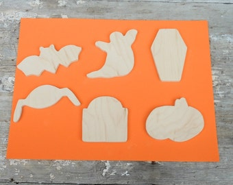Halloween Wooden Cutouts Upcycled Unfinished Wood Set Of Six DIY Fun Spooky Party Ornaments