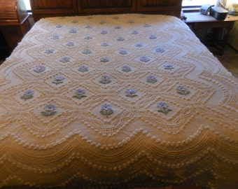 Sale - Soft Vanilla / Pale Yellow with Scrolls, Waves, Pops and BLUE Needletuft Flowers Vintage Chenille Bedspread - Free Shipping