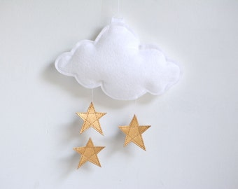 White Cloud and Gold Stars Baby Crib Mobile