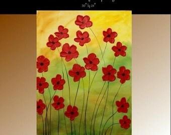 "SALE Oil Landscape painting Abstract Original Modern 30"" palette knife Red Floral oil impasto oil painting by Nicolette Vaughan Horner"