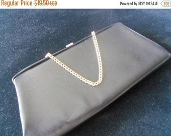 Christmas Sale 1960's Black Clutch Vintage Handbag Rockabilly Accessories