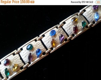 Stunning Rhinestone Bracelet 1950's Hollywood Regency Mad Men Mod 60's Style Retro Collectible Chunky Statement Jewelry