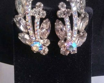 Now On Sale Stunning Rhinestone Earrings - High End Estate Jewelry - 1950's 1960's Old Hollywood Glamour Style Jewelry