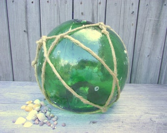 HUGE Japanese Fishing Float - Glass Buoy - Nautical Fish Ball - Emerald Teal Green - Garden Gazing Ball Orb #1