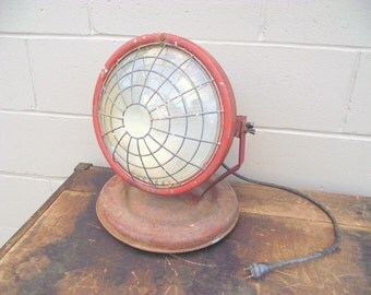 Industrial Dietz Shop Spot Lamp Task Light Lamp RED Rolling - Metal Work Light - Original Glass Lens - Mid Century Steel Machine Factory Age