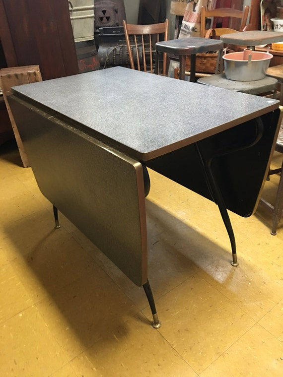 Mid Century Gray formica Drop Leaf Kitchen or Dining Table ~ Spacesaver