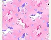 On sale thru 11/30 LITTLE PRINCESS  Northcott cotton quilt fabric by the half yard tossed pink purple unicorns stars 20744-21