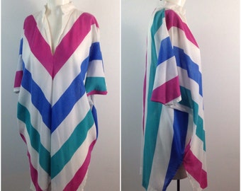 Vintage 1980s Pink and Blue Batwing Chevron Stripe Pullover Tunic Blouse / Women's Medium / 80s Sheer New Wave Hipster Beach