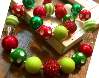 Holiday Christmas Chunky Bubblegum Bead Necklace, Bracelet, Grinch, Jewelry