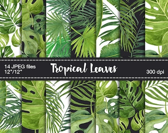 Digital Scrapbook Paper - Tropical leaves digital paper, Tropical background, Digital tropical texture, Digital paper watercolor leaves