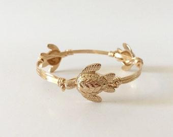 Gold Sea Turtle Wire Wrapped Bangle Bracelet
