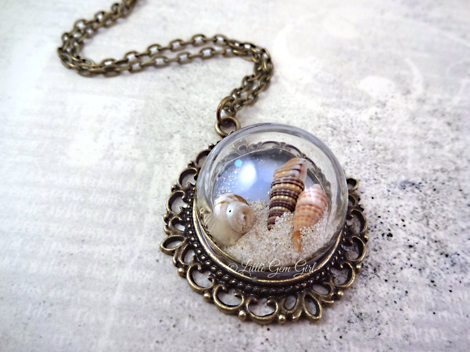 bottle necklace sea shell sand necklace glass