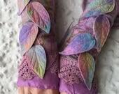 Pastel rainbow Faerie Cuffs-woodland cuffs-  forest gloves- Cuffs- Folkowl Cuffs - fingersless gloves- Mori kei - Faerie Cuffs - goth