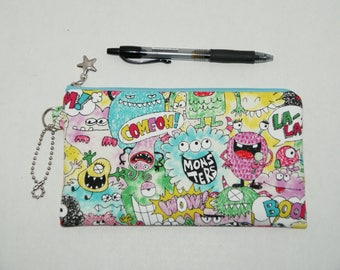 """Padded Zipper Pouch / Pencil Case / Cosmetic Bag Made with Japanese Cotton Fabric """"Monster Party"""""""