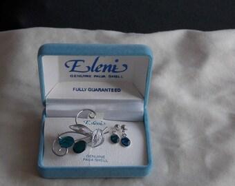 Vintage Silver-tone Paua Shell Jewellery Set