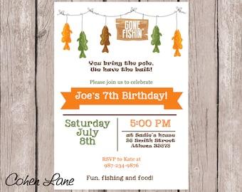 Printable Fishing Party Invitation.  Custom Fishing Invitation.  Gone Fishing Birthday Party Invite.  Fishing Birthday Party.