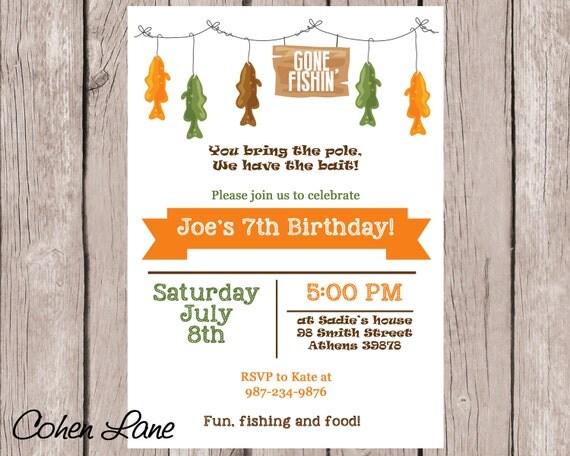 Printable fishing party invitation custom fishing for Fishing birthday party invitations
